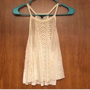 American eagle cropped lace tank top